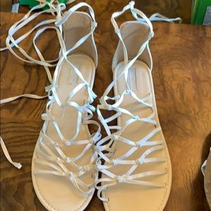 Lace up string Cream Sandals